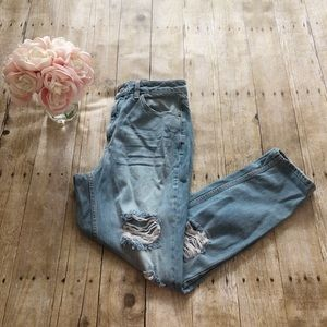 Topshop Moto Mom Jeans with Holes- Size W30 L32
